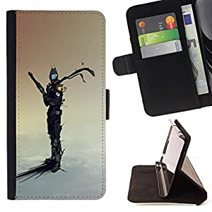DEVIL CASE - FOR Sony Xperia Z1 Compact D5503 - Space Sci Fi Warrior - Style PU Leather Case Wallet Flip Stand Flap Closure Cover