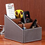 WINOMO PU Leather Remote Control Controller TV Guide Mail CD Organizer Caddy Holder (Coffee)