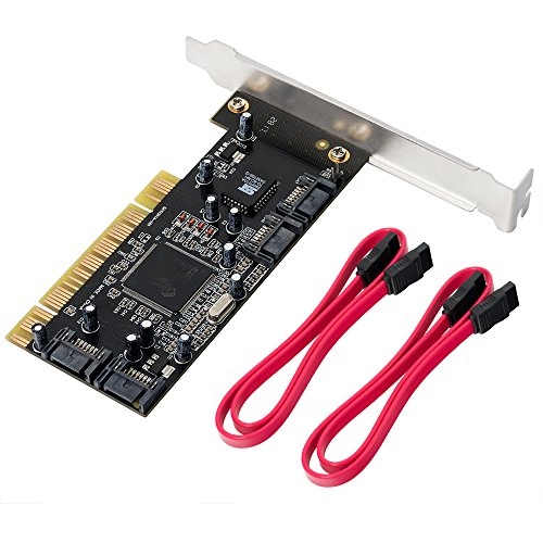 QNINE 4 Ports PCI SATA Raid Controller Internal Expansion Card with 2 Sata Cables, PCI to SATA Adapter Converter for Desktop PC Support HDD SSD by QNINE