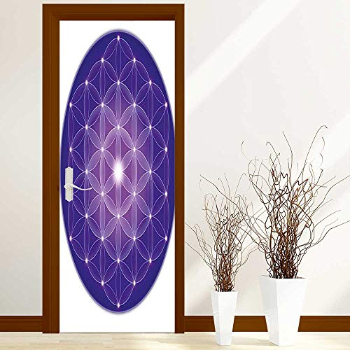 (Stickers Home Door Decoration Life Art of Nature Design Sacred Geometric Miracle with Point Stars Archaic Art for Living Bedroom W38.5 x H77 inch)