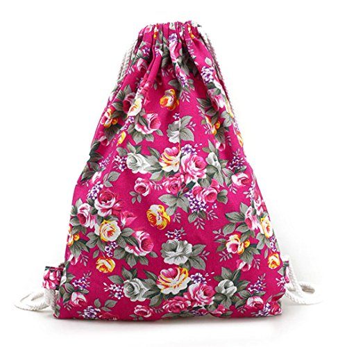 charberry-womens-floral-canvas-casual-backpack-fashion-drawstring-bag-hot-pink
