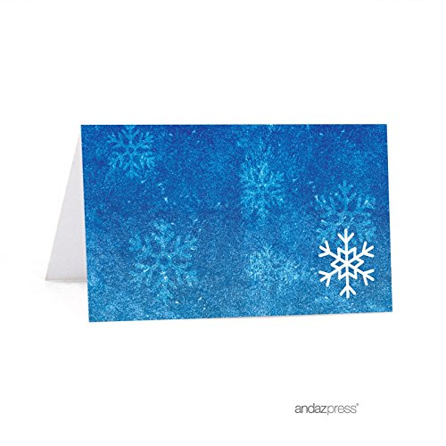 Andaz Press Birthday Printable Table Tent Place Cards, Frozen Snowflake, 24-Pack, for Dessert Table Candy Buffet Stations (Cards Table Frozen)