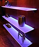 "LED Liquor Bottle Display Shelf - 2' Long x 4.5"" Deep w/ Power Supply & LED Controller, Programmable LED Remote Control"