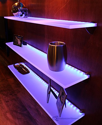 "LED Lighted Floating Wall Shelf - 3' Long x 4.5"" Deep w/ Power Supply & LED Controller"