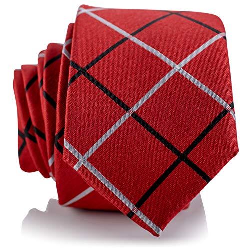 Fly & Dapper Handmade Red Plaid Pattern Men's Necktie | 2.5