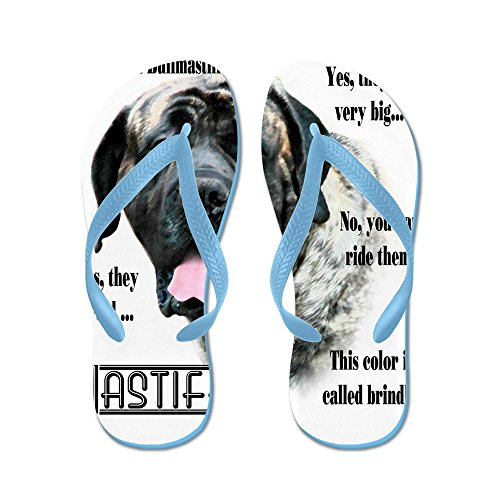 CafePress Mastiff(Brindle) FAQ - Flip Flops, Funny Thong Sandals, Beach Sandals Caribbean Blue