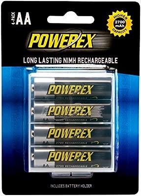 Powerex MHRAA4 - Pack de 4 Pilas Recargables AA (NiMh, 2700 mAh, 1.2 V)