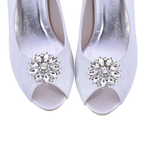 ElegantPark 2 Stück Silber BQ Runde Blumen Schuhclips Strass Hochzeit Partei Accessiories