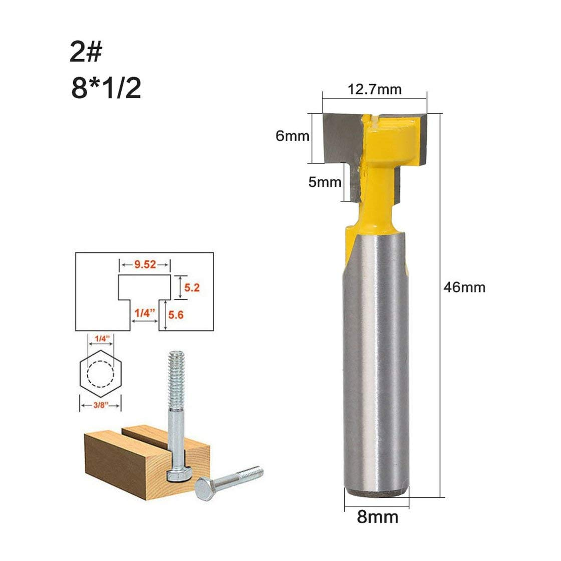 2PCS 8mm V/ástago T-Slot Router Bits Cortador de carpinter/ía Fresa de madera Fresa Router Bits con alta dureza Mayitr