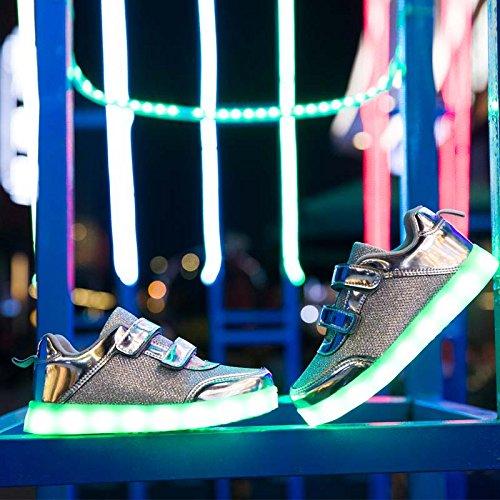 Para Más 7 Blanco Tamaño Negras Niños Hombres Niñas elegir1 Mujeres Usb Dogeek Color Zapatos Luminosos Led Deportivos Luces Zapatillas Carga Plateado Grande wx6qwHA