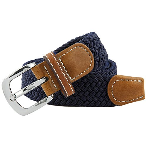 Moonsix Braided Stretch Belts for Women,PU Leather Elastic Fabric Woven Webbing Belt,Navy Blue