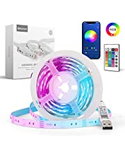 Smart LED Light Strips,Baytion Smart LED Strip Lights with APP Controlled 5050 RGB Music Sync Colors Changing and 24-Key Remote Control for DIY Interior Decoration(2M)