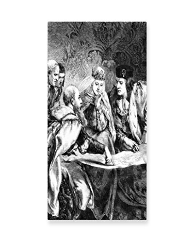 Lunarable Victorian Wall Art, Christopher Columbus at the Court of King Ferdinand and Queen Isabella America, Gloss Aluminium Modern Metal Artwork for Wall Decor, 11.6 W X 23.5 L Inches, (Easy Christopher Columbus Costume)