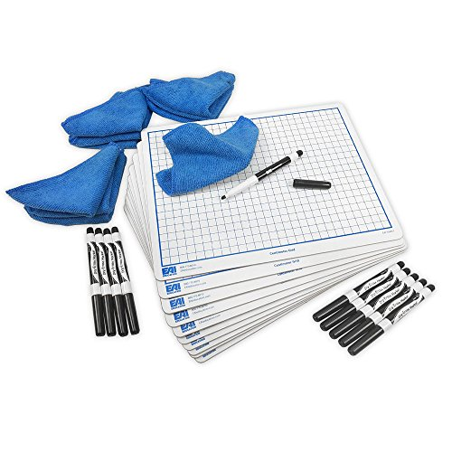 EAI Education Centimeter Grid Dry-Erase Lapboard Kit: 9''x12'', Double-Sided w/CleanWipes, Set of 10 by EAI Education