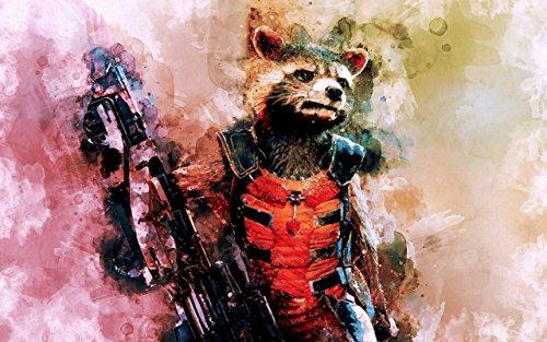 Rocket Raccoon - Metallic Art Print - Premium Printing - Archival Art - Marvel Super Hero - Watercolor - 11x14 inch - Free Shipping ()