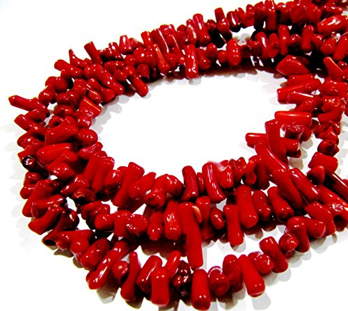 SALE- Beautiful Red Stick Coral Beads / Branch Coral Beads / Size 7 to 15 approx / Strand 16 inch long / Italian Red Coral Gemstone Beads