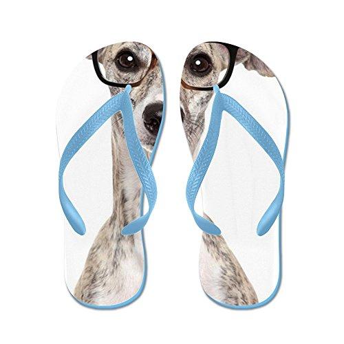 CafePress Dog In Glasses On White Background - Flip Flops, Funny Thong Sandals, Beach Sandals Caribbean Blue