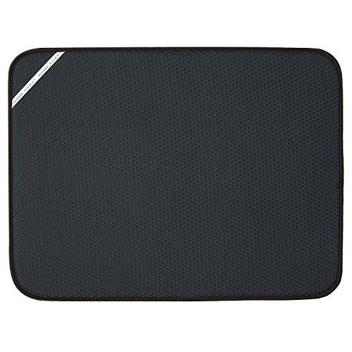 Envision Home 432801 18 24-Inch Microfiber Dish Drying Mat, X-Large, Black, XL, ()