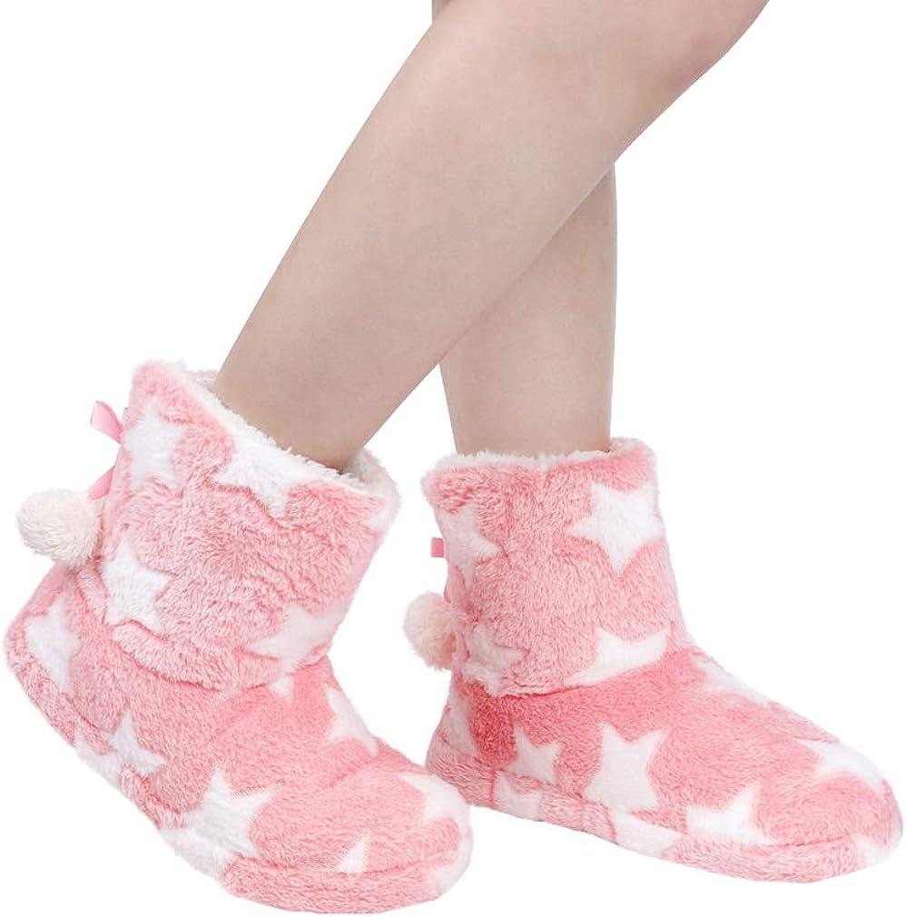 Womens Slipper Boots Warm Fleece Winter Slip Ankle Lined Girls Printed Cozy Boot