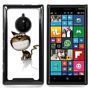 Eason Shop / Premium SLIM PC / Aliminium Casa Carcasa Funda Case Bandera Cover - Cartoon Cat Comic Sonrisa grande dientes blancos Arte - For Nokia Lumia 830