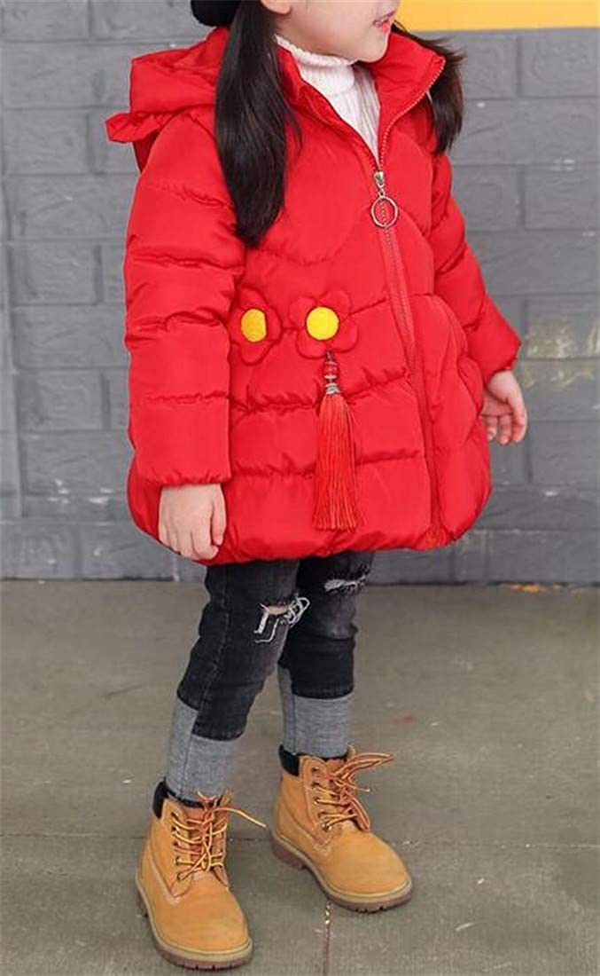 Wofupowga Girls Slim Classical Quilted Cute Hoodie Thicken Parkas Coat