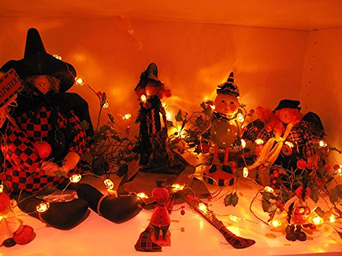 Jack-O-Lantern Orange Pumpkin String Lights - 10ft 40LEDs Long Battery Operated Copper Wire With the Remote & Timer for Indoor/Covered Outdoor/Autumn Parties & Home/Dorm Room Decorations by MIYA LIFE (Image #3)