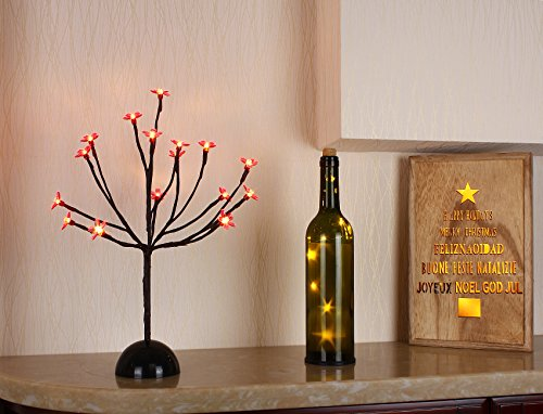 Bolylight LED Cherry Blossom Table Tree Lamp Night Light Centerpiece 14.56 inch 16L Great Decoration for Home/Christmas/Party/Festival/Wedding, Red