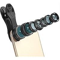 KobraTech 9 in 1 Cell Phone Lens Kit - Super Wide Angle Lens, Kaleidoscope Lens, Macro Lens, Fisheye Lens, Telephoto Lens, CPL Lens & Wide Angle Lens, Bluetooth Remote Shutter & LED Light