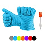 CookPro Silicone Ov for BBQ Grill, Baking, Potholder and Kitchen Use; Extra Thick (190g Per Glove) Heat Resistant, Non-slip, Water Proof and Dishwasher Safe-with BBQ brush- blue