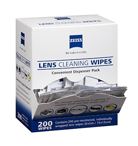 ZEISS Pre-moistened Lens Cleaning Wipes - Cleans Bacteria,