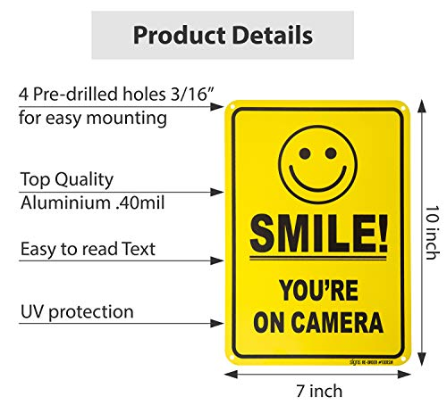 No Trespassing Warning Sign Smile You/'re on Camera 10x 7 CCTV Security Camera Alert UV Protected Reflective Rust-Free Waterproof Printed on 0.40 Heavy Duty Aluminum for Home or Business 2 Pack