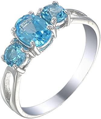 Excellent Quality Blue Topaz Ring With White Zircon Wedding Ring Anniversary Ring in Sterling Silver For Woman Engagement Ring Promise ring