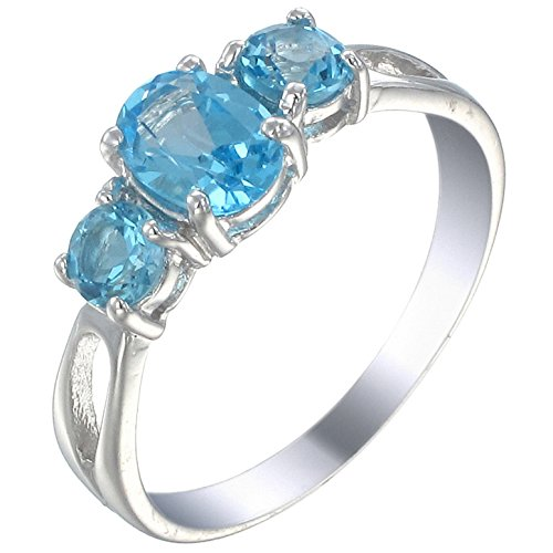 Vir Jewels Sterling Silver 3 Stone Swiss Blue Topaz Ring (1.20 CT) In Size 7