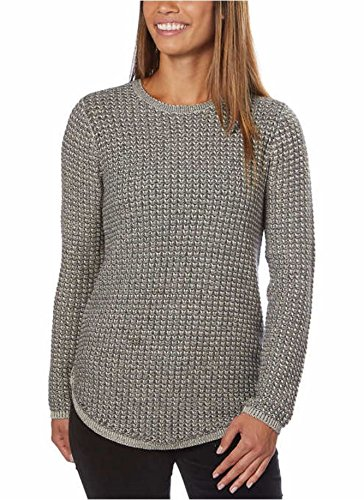 Jeanne Pierre Ladies' Crewneck Sweater, Grey Combo, Large