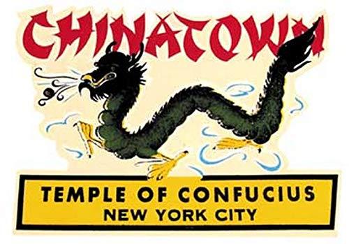 Chinatown New York City Temple of Confucius Dragon Vintage Travel Decal Sticker Souvenir