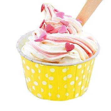 100 pzas Pastel Galleta Molde Papel Taza Impresión Punto Utensilios de Cocina para Hornear bizcocho Vaso de Papel (Amarillo): Amazon.es: Hogar