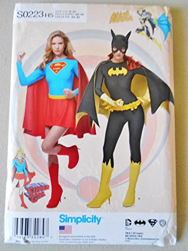 Simplicity 0223 Sewing Pattern Batgirl and Supergirl Costumes Halloween Cosplay Super Heroes Dc. Comics Misses Costumes Size 6-14 Top, Boot Covers,hood, Leggins,skirt, Panties and Cape. (7 Supergirl Halloween)