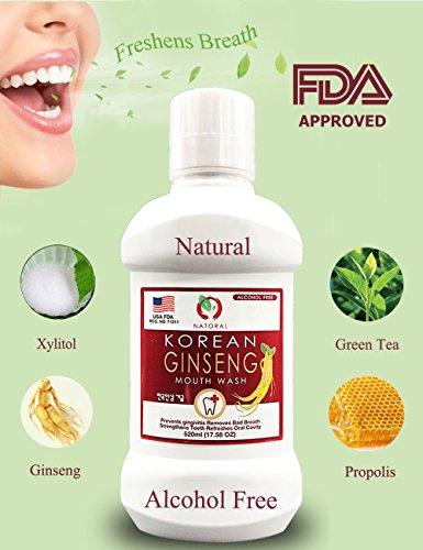 Natoral Korean Ginseng Mouthwash, Natural ingredients, Eliminate Bad Breath in 30 Seconds, Alcohol Free