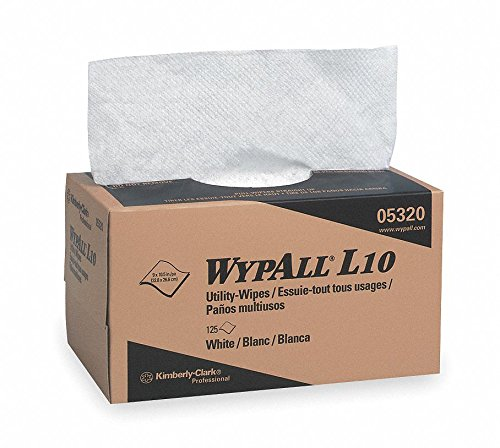 L10 UCTAD (Uncreped Through Air Dried) Disposable Wipes, 125 Ct. 9'' x 10-1/4'' Sheets, White