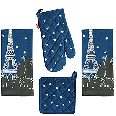 4 Piece Paris la Nuit (Paris at Night) Cats Kitchen Set - 2 Towels, Oven Mitt, Potholder