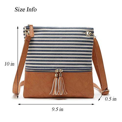 Bag Stripe Purse Medium Faux Black Canvas Duketea Crossover Crossbody Leather Shoulder zgPnAgF