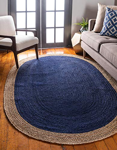Unique Loom Braided Jute Collection Hand Woven Natural Fibers Navy Blue Oval Rug (5