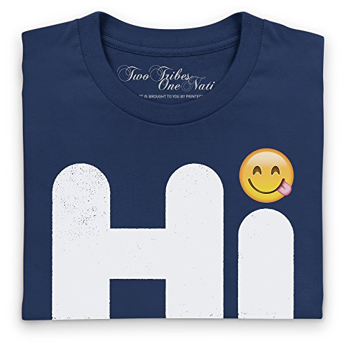 Official Two Tribes Emoji - Hi Smiley Camiseta, Para mujer Azul marino