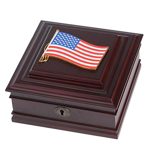 (Personalized American Flag Medallion Desktop Box)