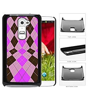 Preppy Argyle In 2 Dimensions Pink And Brown Hard Plastic Snap On Cell Phone Case LG G2