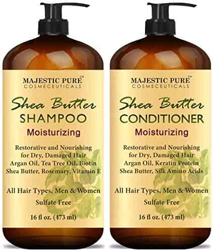 MAJESTIC PURE Shea Butter Shampoo and Conditioner Set, Moisturizing & Nourishing - Daily Shampoo Set for Men and Women - Sulfate Free & Paraben Free, 16 fl oz each