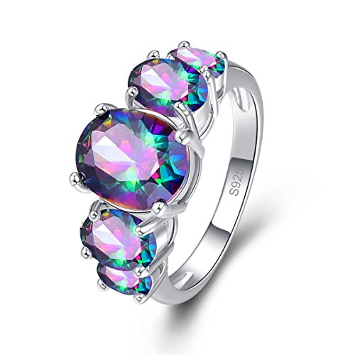 - Psiroy 925 Sterling Silver Created Rainbow Topaz Filled 5 Stone Engagement Ring Band Size 8