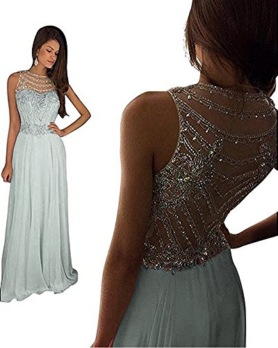 Lemai Sheer Back Beaded Long A Line Chiffon Prom Dresses Evening Formal Gowns Silver US 14