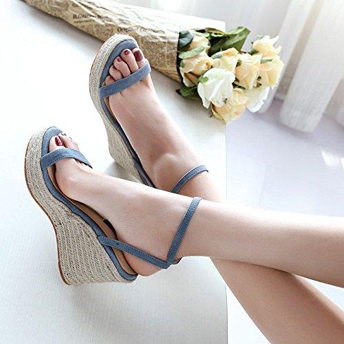 Hebilla Verano Cuero Tacones De Con Sandalias Altos Cuña Una Mujeres Azul Zapatos Piel Mujer Oveja Sbl Las qtAp8nA