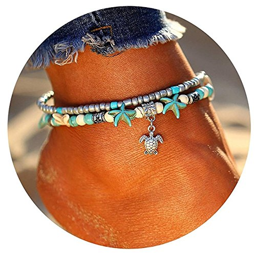 Anklet Designer Gold (Ghome Turtle Starfish Mermaid Anklets,Various Pendants Rhinestones Turquoise Stone Charm Anklet,Multiple Layered Boho Gold Chain Anklet Beach Foot Jewelry (01:Turtle))